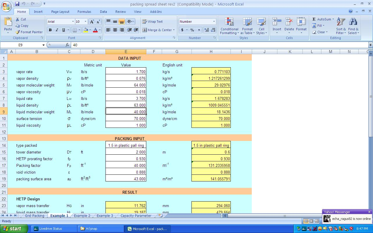 Packing Hydraulics Design Sizing Excel Spreadsheet Part 1 Part 2 #174CB4